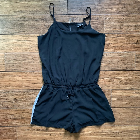 William Rast Pants - Black With White Stripe Tank Top Romper